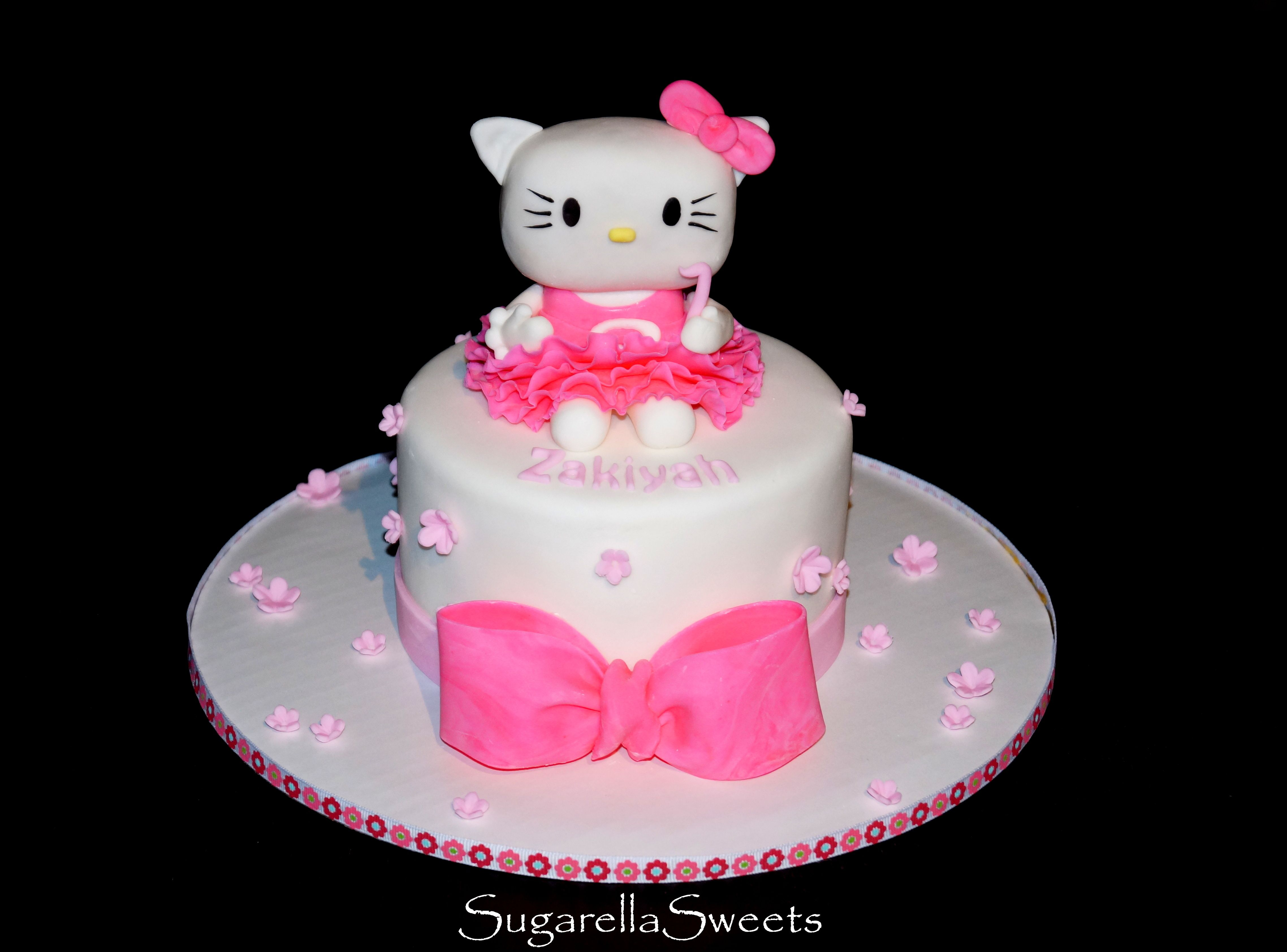 Cute White And Pink Ruffled Hello Kitty Cake Topper With Bow Www
