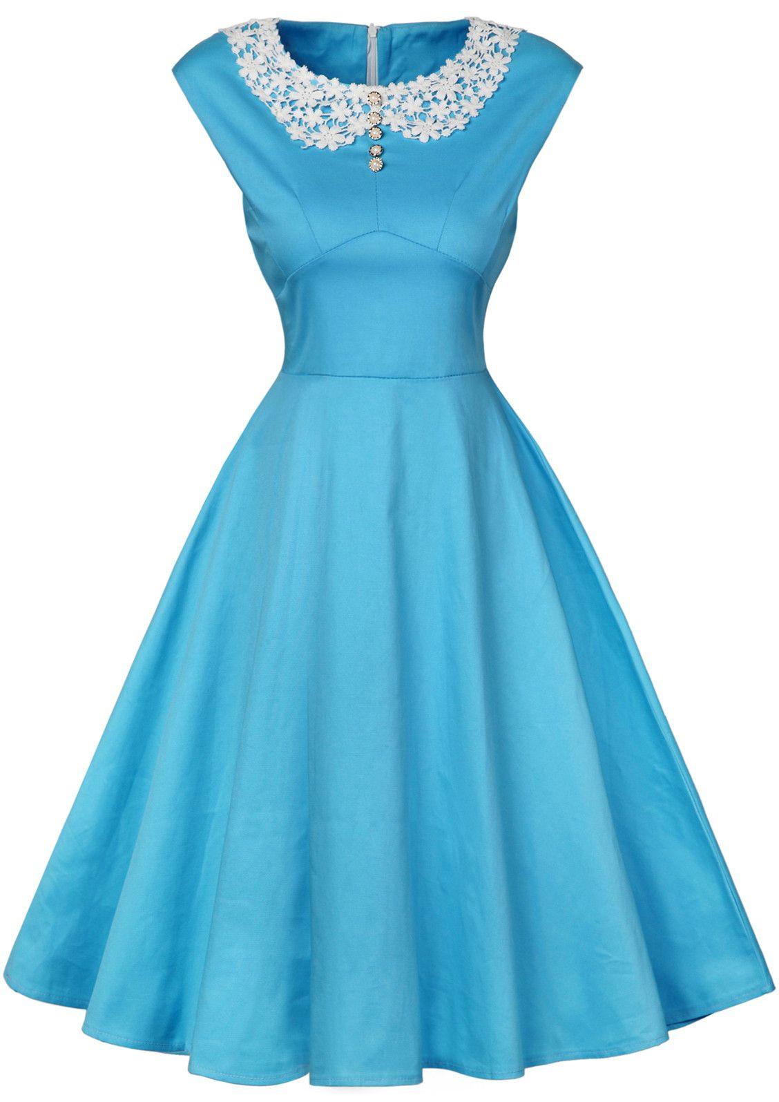 $23.85 Vintage High Waist Lace Insert Buttoned Dress   Pretty ...