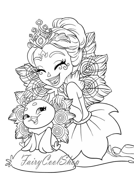 children coloring pages to print and color | Digital Coloring Images 17 pages A4 Enchantimals Printable ...
