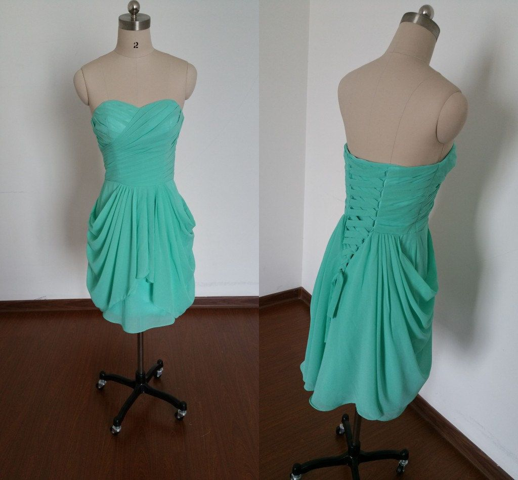 Green bridesmaid dressesshort bridesmaid dressruffles bridesmaid