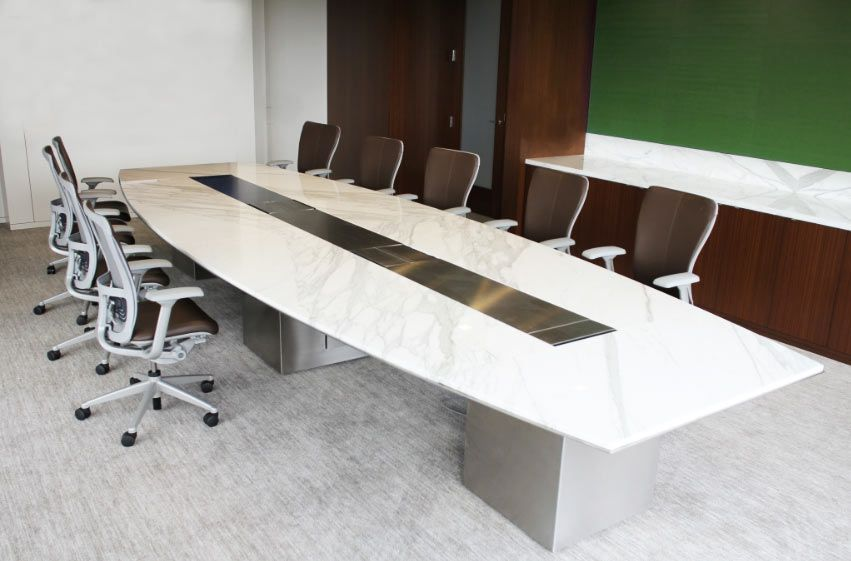Modern Conference Table White | Custom White Marble Stone Boat Shaped Conference  Table With Brushed .