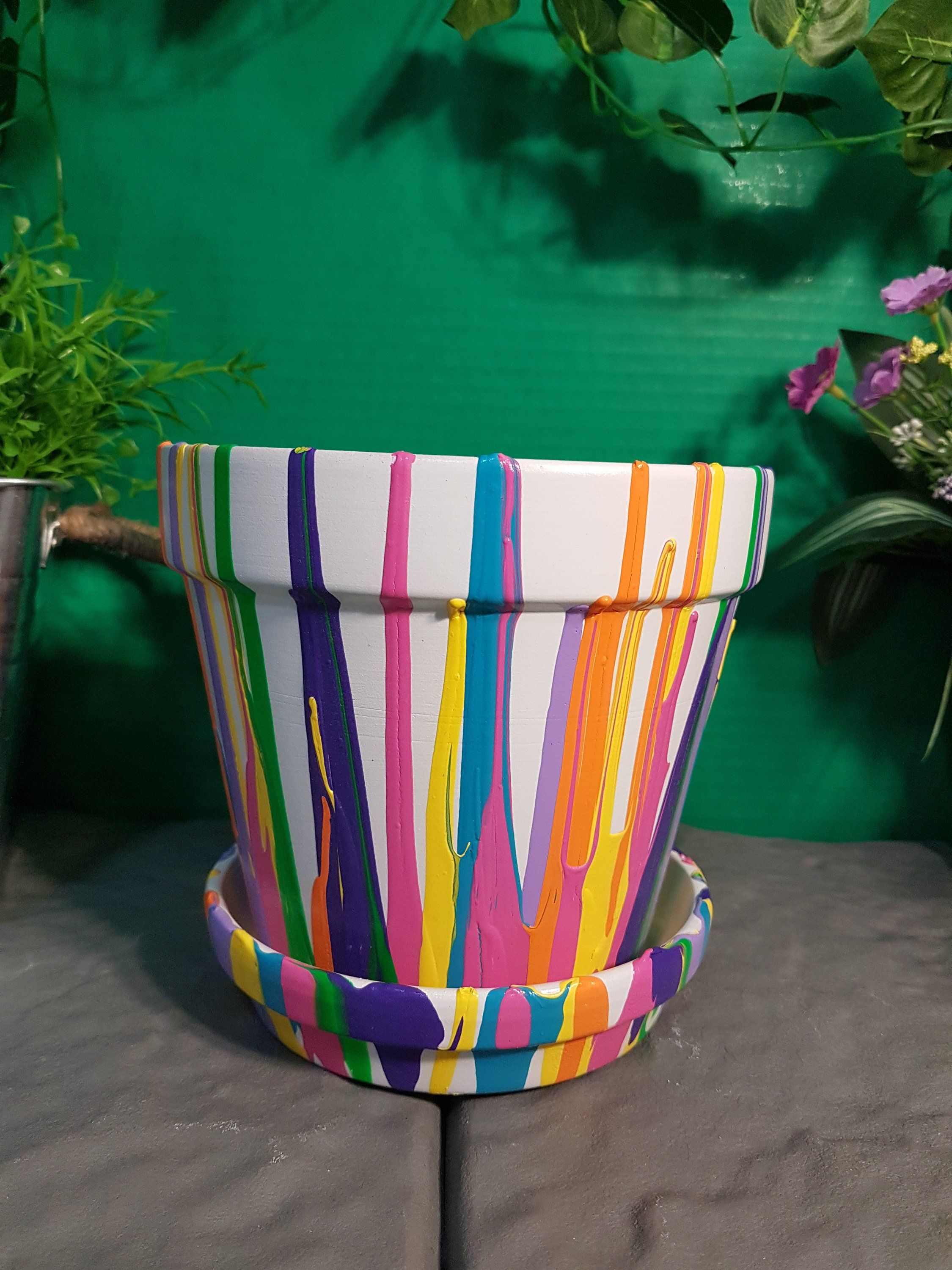 Hand Painted, Rainbow, Abstract, Terracotta, Planter Pot, Home And Garden