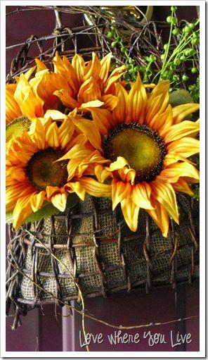 Sunflowers In Rustic Basket On The Front Door