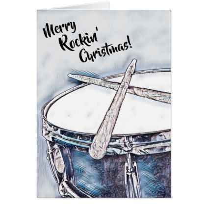 Drummer Christmas Card Drum Rock Roll Holiday