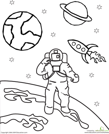 Color The Outer Space Astronaut Kids Learning Space Coloring