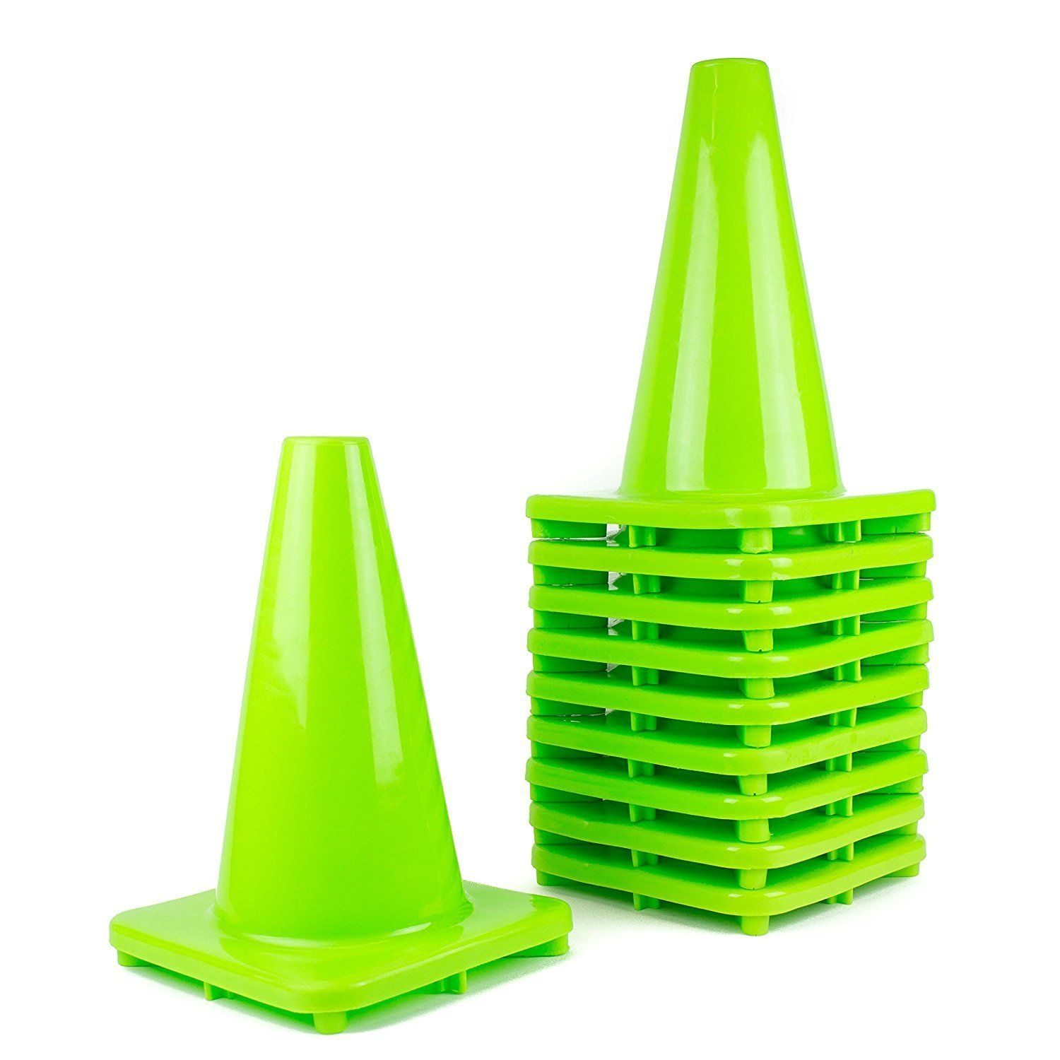 (Set of 10) RK PVC Traffic Safety Cone, Lime, 12Inch