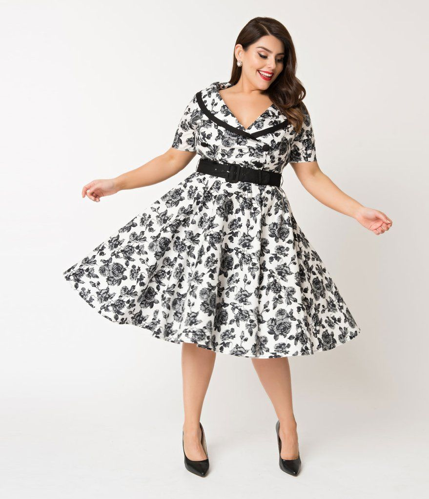 f99c03acd14 Hell Bunny Plus Size 1950s Style White   Black Floral Honor Swing Dress