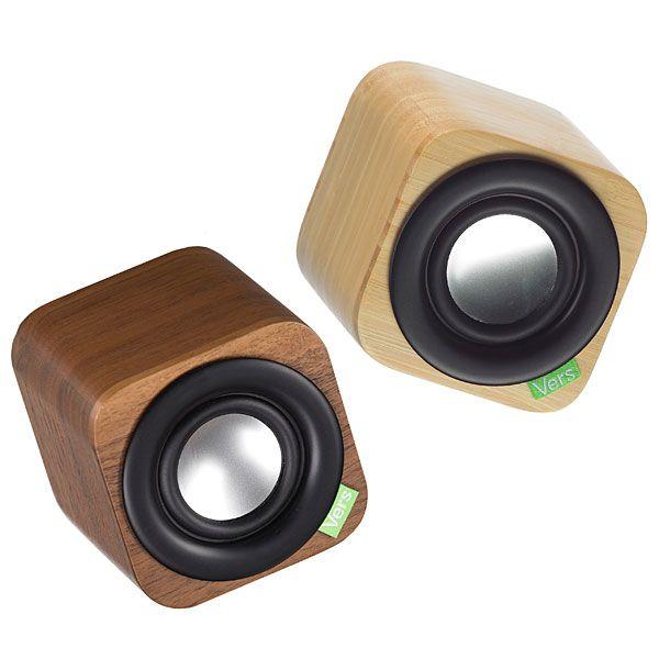 Vers 1q Wood Cube Portable Bluetooth Sound System Thinkgeek
