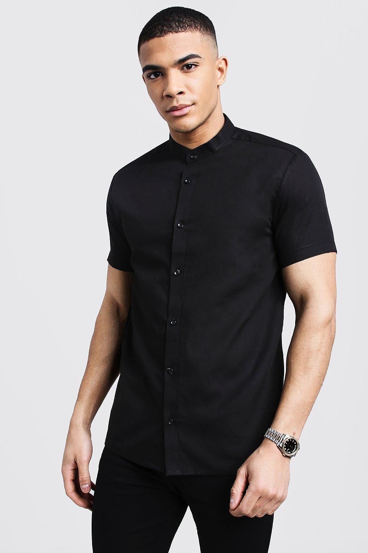 Black Short Sleeve Dress Shirt Black Short Sleeve Dress Shirt Outfit Men Grandad Collar Shirt [ 1500 x 1000 Pixel ]