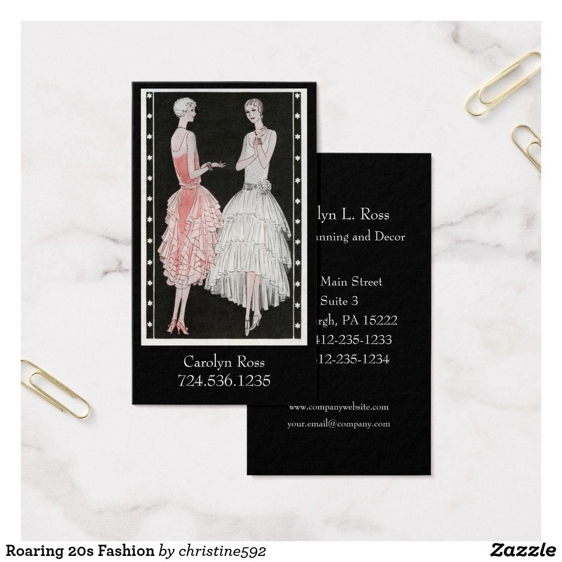 Roaring 20s fashion business card roaring 20s fashion and business roaring 20s fashion business card reheart Gallery