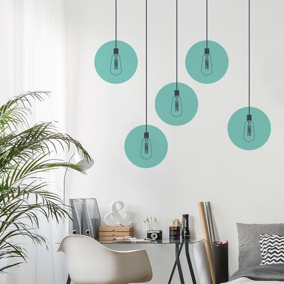 industrial lights wall decal - vintage lamp wall sticker - round