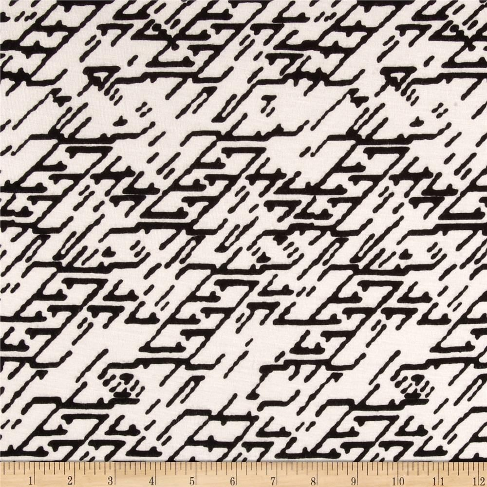 Rayon Spandex Jersey Knit Planters Off White/Black