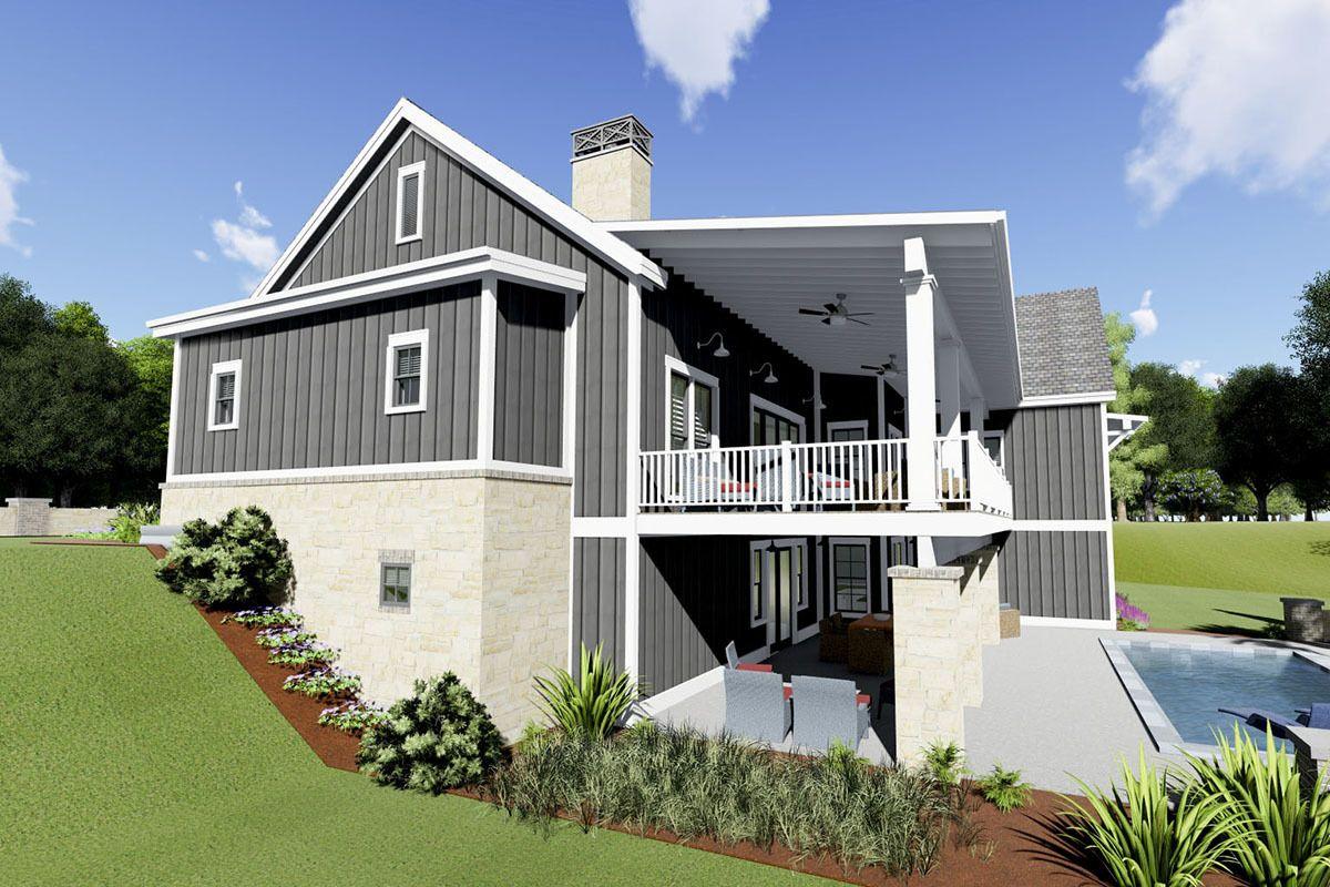 Plan 64471SC: Gorgeous Farmhouse Plan for a Rear-sloping ...