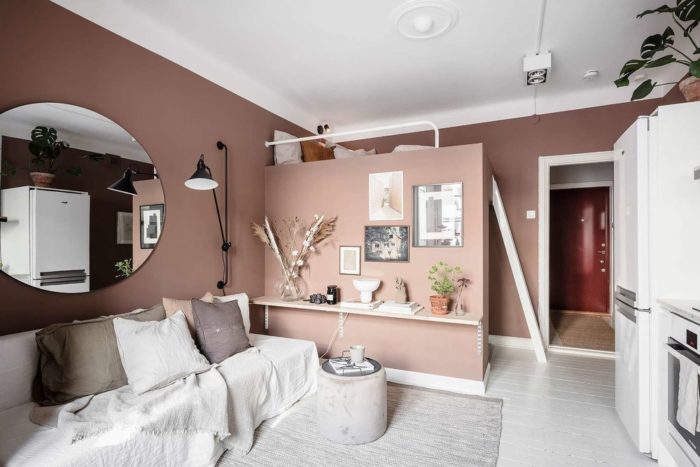 A Tiny Pink Studio Apartment with Loft Bed and Walk in ...