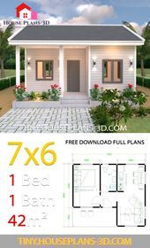 7x6 With One Bedroom Gable Roof Housedesign Housedesignarchitecture Housedesignbathroom Guest House Plans Simple House Plans Small House Design Plans