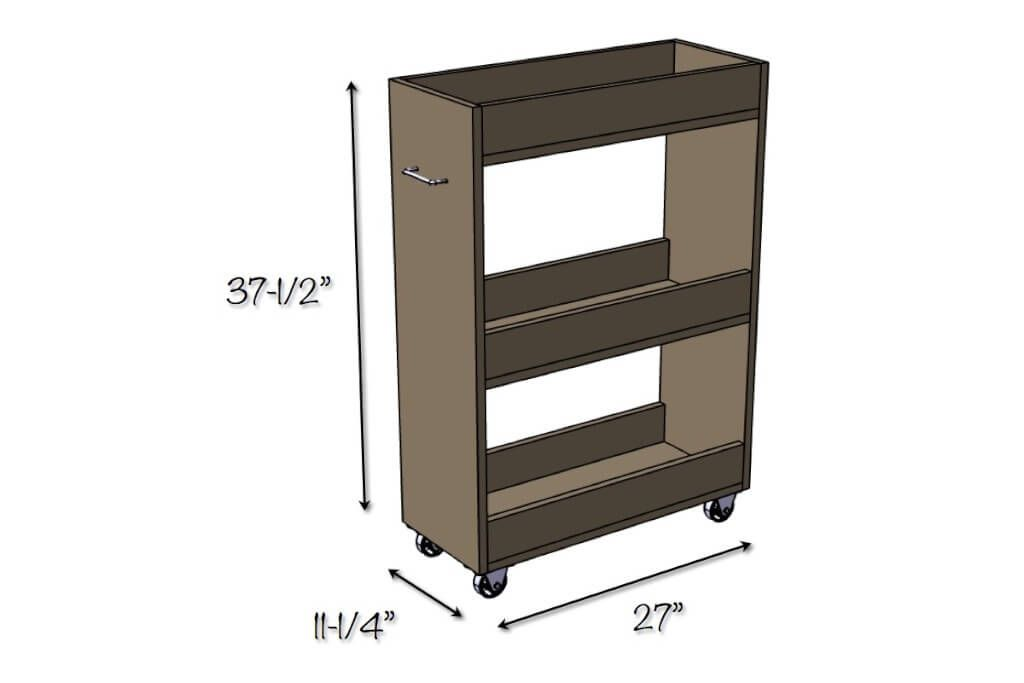 Slim Rolling Laundry Room Storage Cart Free DIY Plan Storage