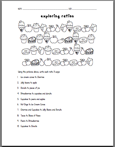Sweet Exploring Ratios Worksheet Sixth Grade Math Upper Elementary Math Math Lessons
