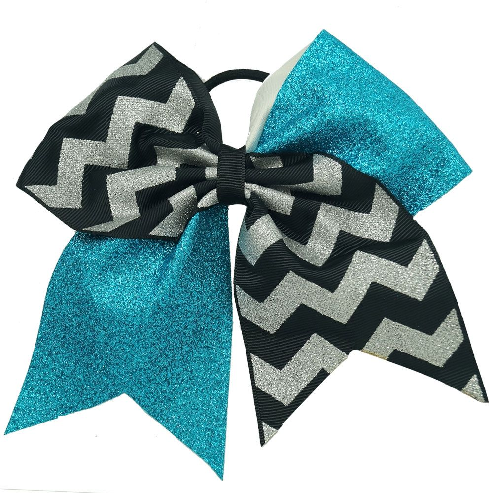 Turquoise Glitter and Silver Chevron Cheer Bow---Chengna Hair Accessories