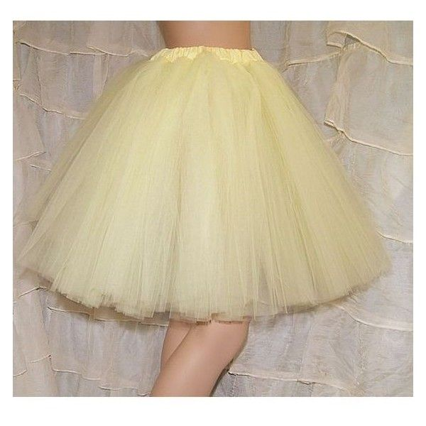 Pastel Yellow Romance Knee Length Tutu Skirt Adult All Sizes Mtcoffinz Liked On Polyvore Featuring