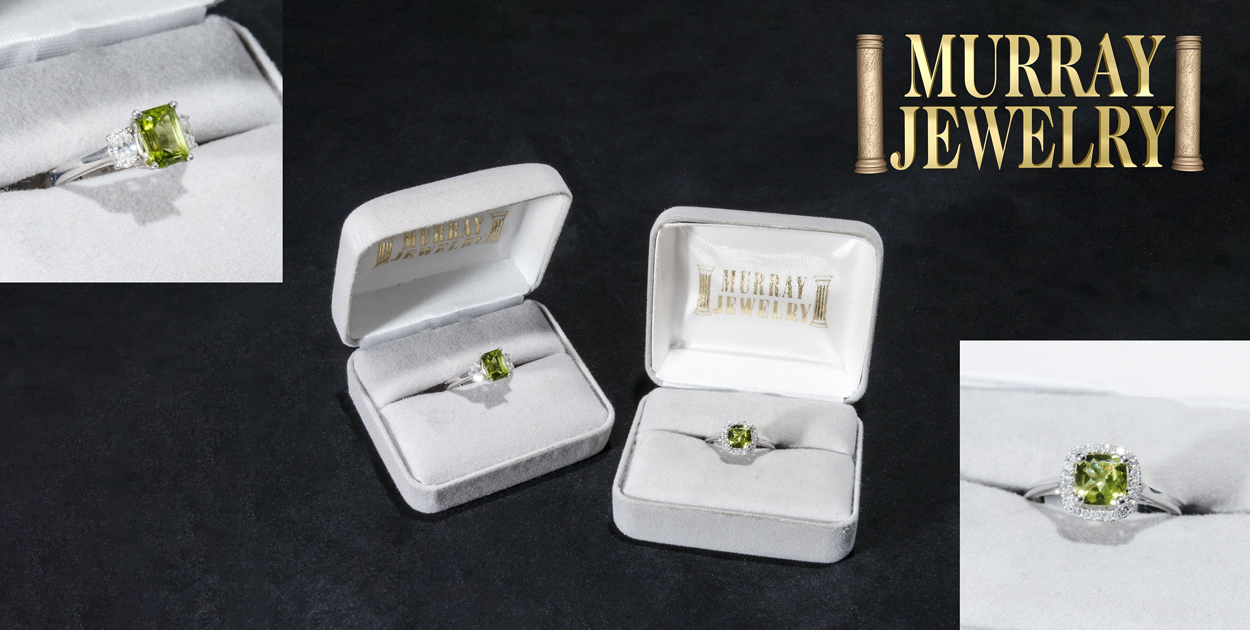 02c39b92617d These spectacular peridot rings are a timeless elegance. Both beautifully  showcased with alluring diamonds