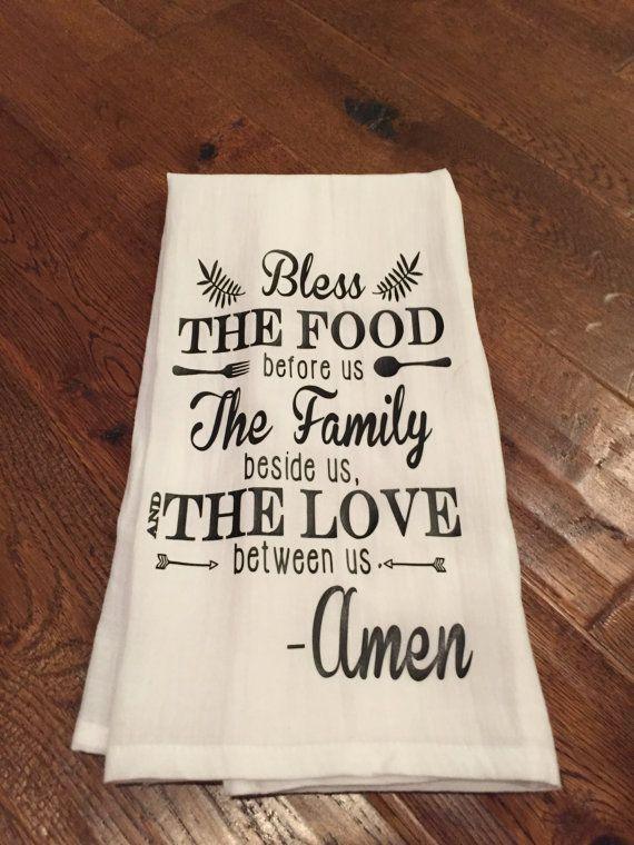 Bless The Food Tea Towel Flour Sack Towel