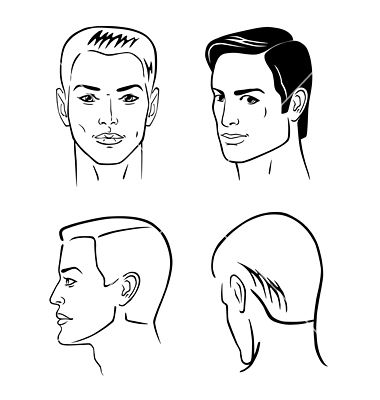 Four Man Outline Faces Vector Image On Vectorstock Face Profile Face Outline Male Art Reference