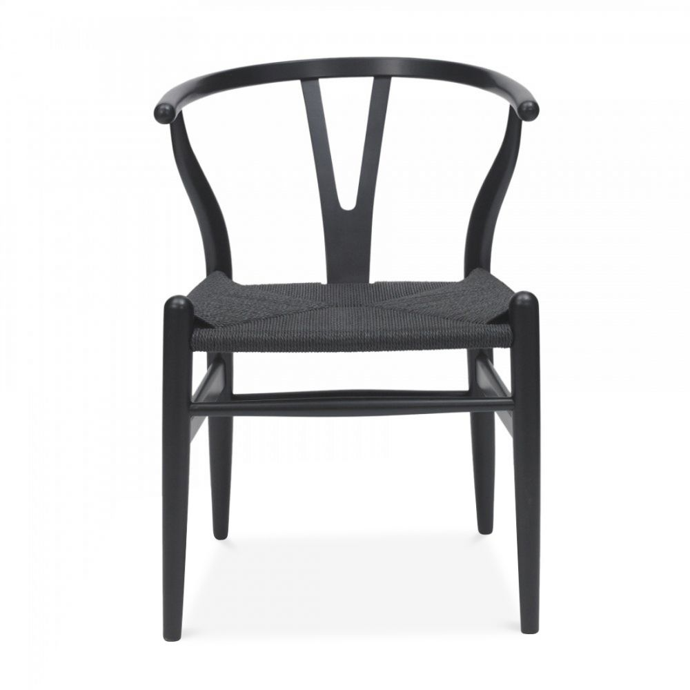 Wishbone Stuhl Hans J Wegner Style Wishbone Chair Black Black Seat New