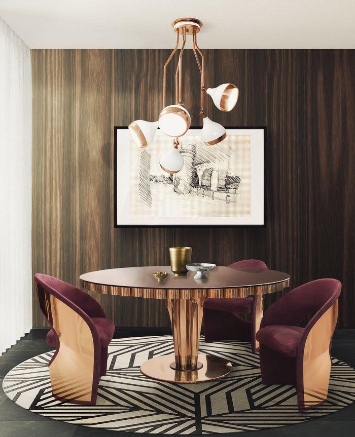 Hochwertig Kupfer Kronleuchter Für Fünf Glühbirnen, Lüster Mit Kupferüberzug,  Luxuriöses Esszimmer Mit Rundem Tisch Aus
