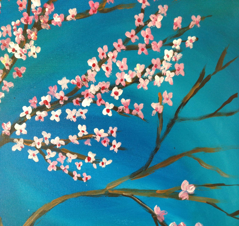 Diy Acrylic Painting Of Japanese Cherry Blossoms Cherry Blossom Painting Acrylic Cherry Blossom Painting Japanese Cherry Blossom