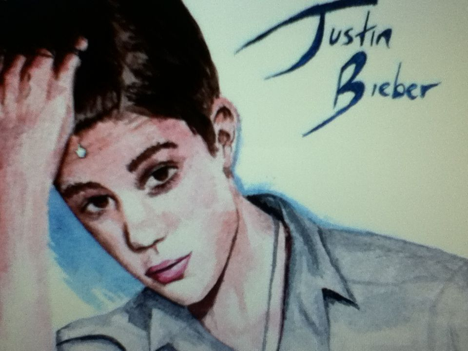 Justin Bieber watercolour painting by Caroline Hollow