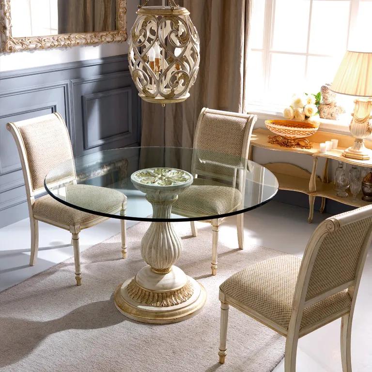 Classic Italian Louis Xvi Reproduction Round Glass Dining Table Set Glass Dining Table Set Round Dining Table Modern Glass Dining Table
