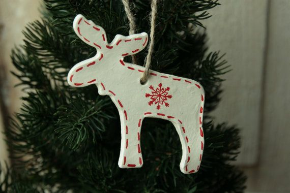 Scandinavian Reindeer Christmas Decoration Clay Nordic Etsy Red Christmas Ornaments Christmas Reindeer Decorations Merry Christmas Decoration