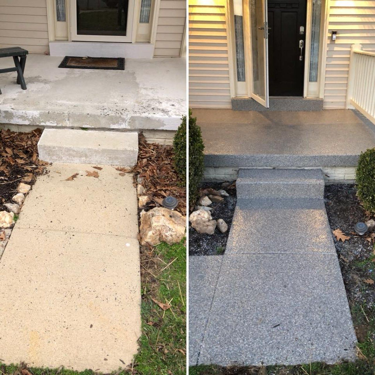 Before And After Decorative Graniflex Sidewalk And Porch