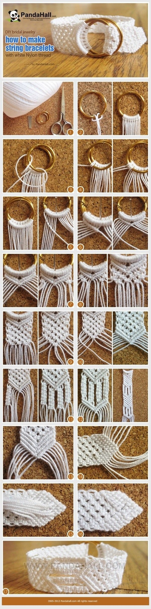 DIY bracelet tutorial...could be a cute belt if made long enough.