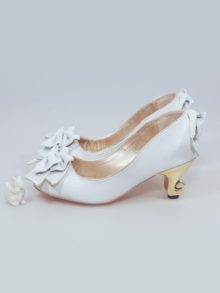 1b90dd1303a3 Sweet Lolita Shoes Square Toe Special-Shaped Heel Bows White Lolita Pumps   Square
