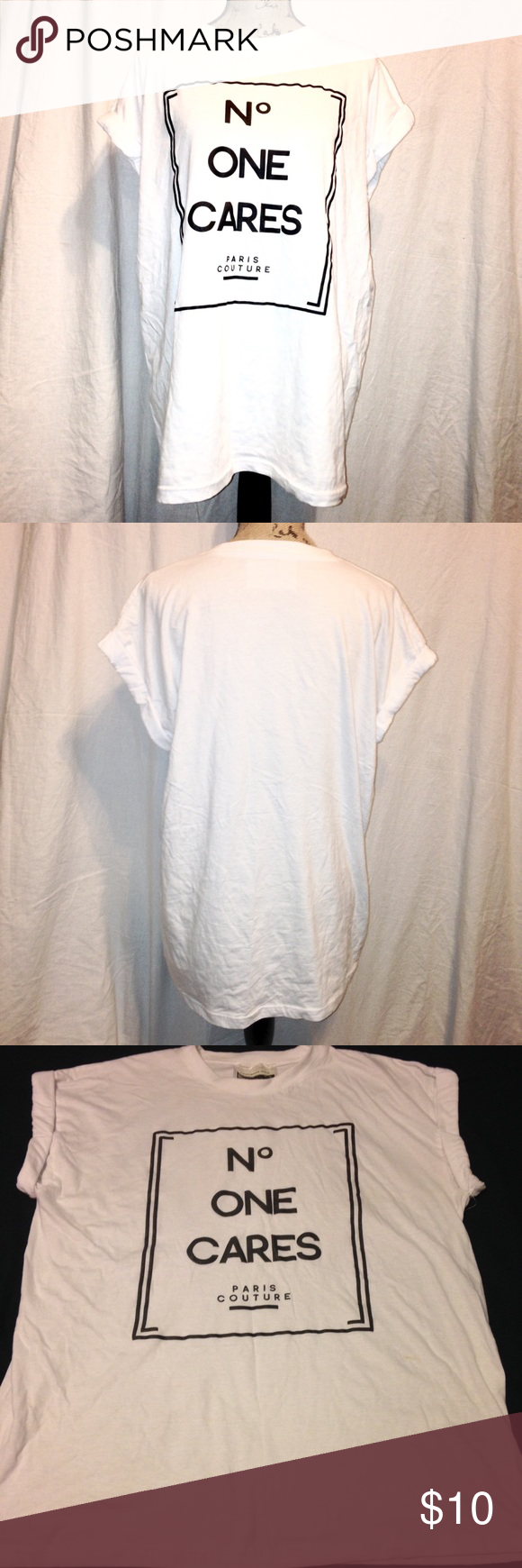 """""""No one cares"""" oversized tee - FIRM PRICE Worn and washed once. Slightly stained near the right side of the shirt. Size L juniors. Measures 29"""" shoulder to hem, 23"""" bust, lying down, 9.5"""" sleeve opening lying down. Brand is """"Californian Stitch"""", Forever 21 for exposure. No trades or lowball offers please. Forever 21 Tops Tees - Short Sleeve"""