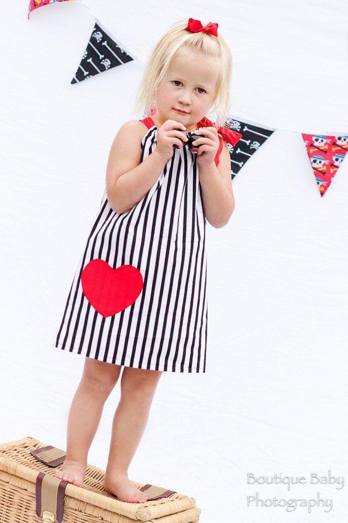 I HEART Stripes - Dress with Applique - Baby, Toddler, Girls sizes - 1/2, 2/3, 4/5, 6, 7/8, 9/10 - you choose applique color. $28.00, via Etsy.