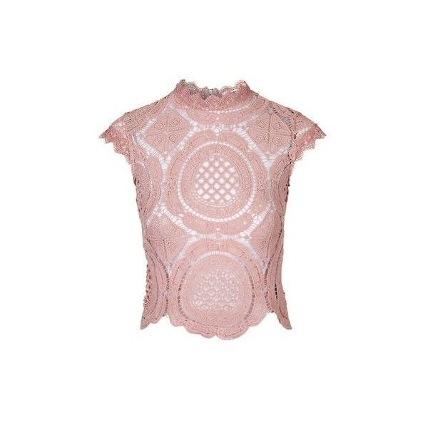 12a512fb420871 Crochet High Neck Crop Top by Glamorous (135 RON) ❤ liked on Polyvore  featuring tops, pink, high neck top, pink top, cropped tops, topshop tops  and high ...