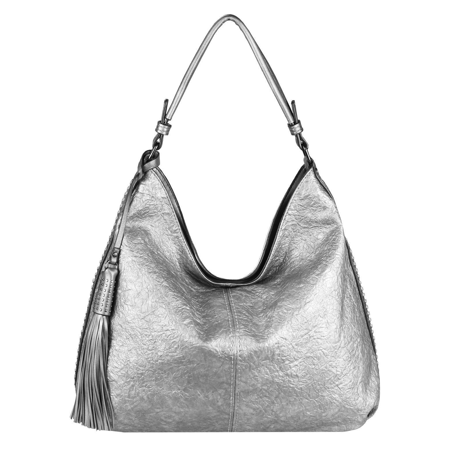 Damen Leder Handtasche Schultertasche Shopper Italy gelb silber metallic DIN-A4