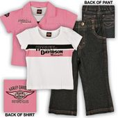 Harley-Davidson® Girls Toddler 3 Piece Prestige Shirt & Denim Pant Set Pink SG03-2346R