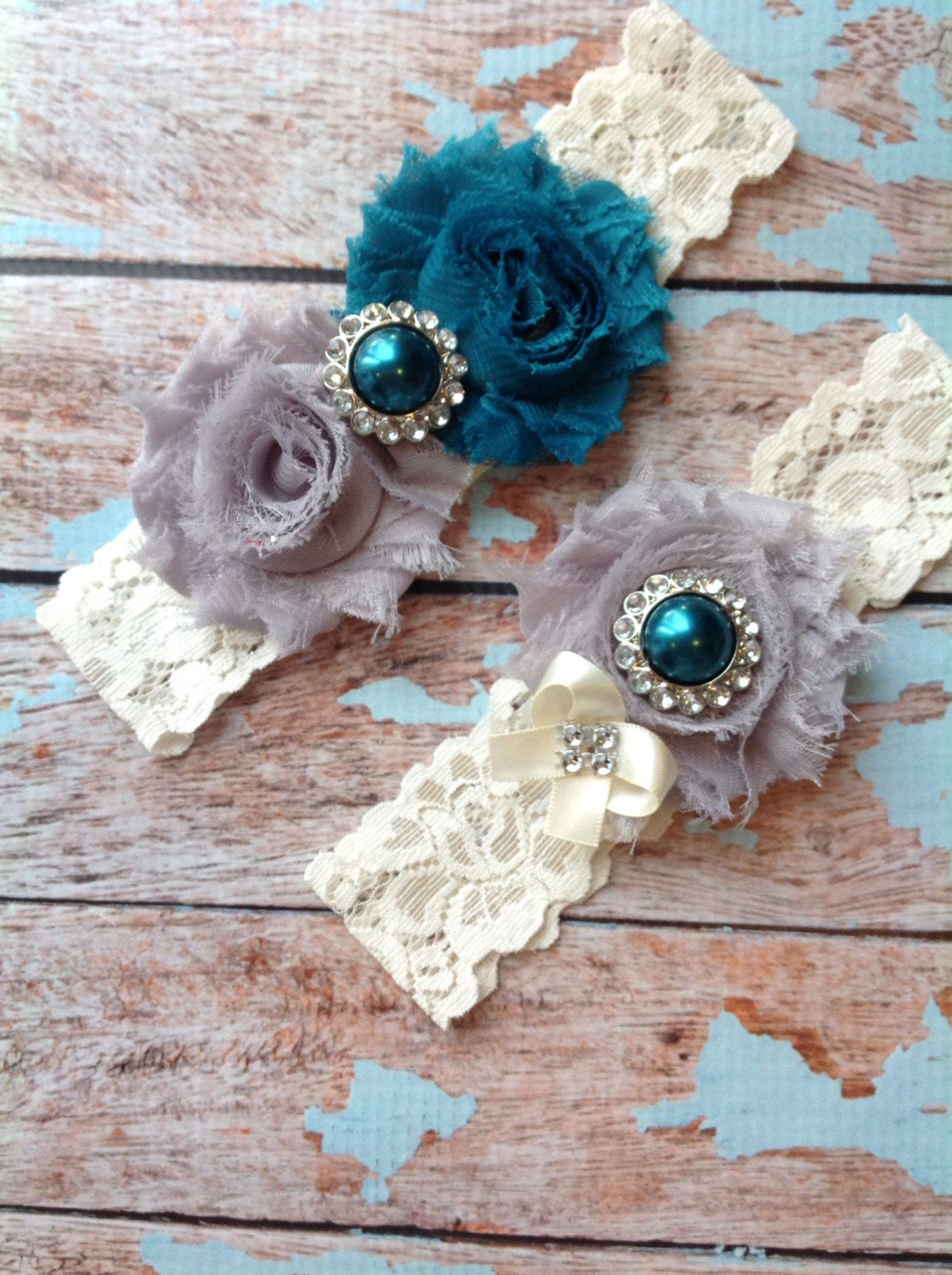 TEAL GREY Wedding Garter Set Bridal By FallenStarCoutureInc I Used This Lady For