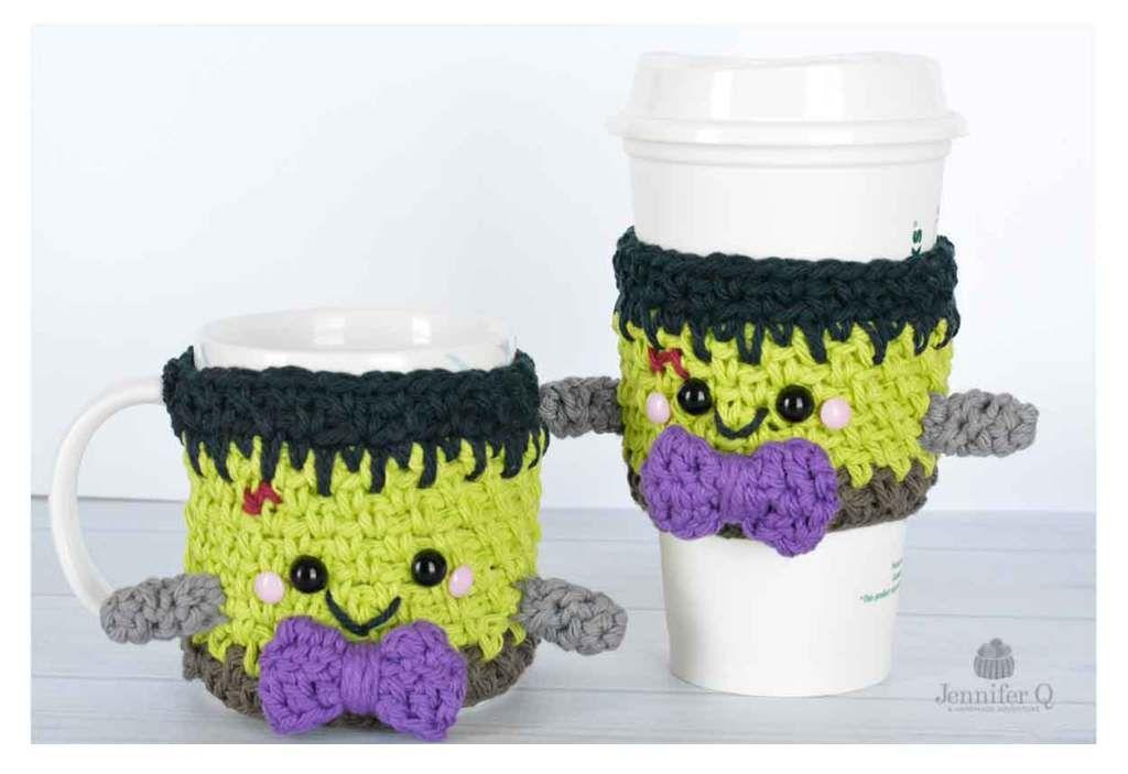 Crochet Halloween Frankenstein Cozies | Crochet, OK? | Pinterest