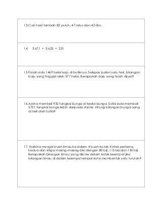 Latihan Ulangkaji Matematik Tahun 4 Kssr