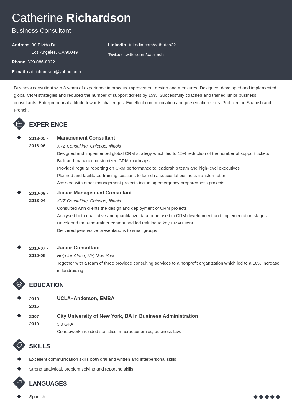 consultant resume example template diamond in 2020 Job