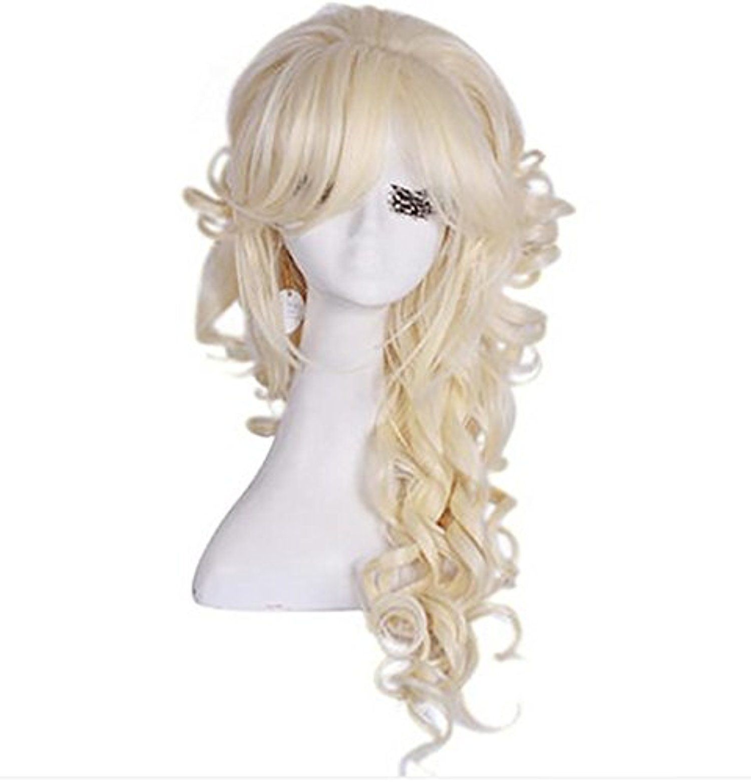 HAHA Anime curly female long curly hair wig Messenger bang beige -- Awesome products selected by Anna Churchill