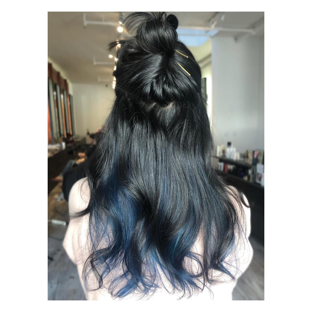 Just A Pop Of Smokey Blue Color And By Colorbycristi Using Joicointensity In Sapphire Blue And A Touch Brunette Hair Color Long Hair Styles Creative Colour