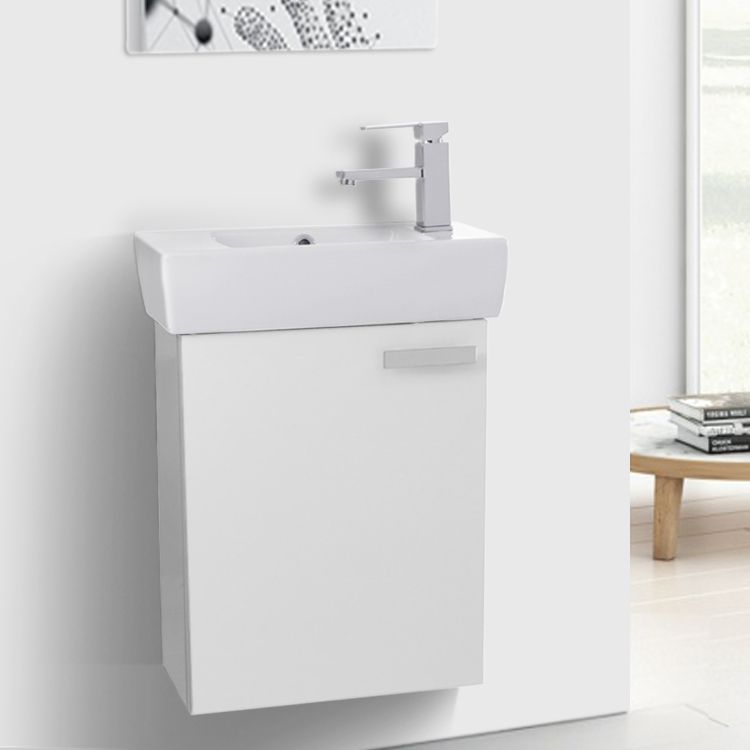 19 Inch Glossy White Wall Mount Bathroom Vanity With Fitted Ceramic Sink Small Bathroom Vanities Small Bathroom Bathroom Vanity