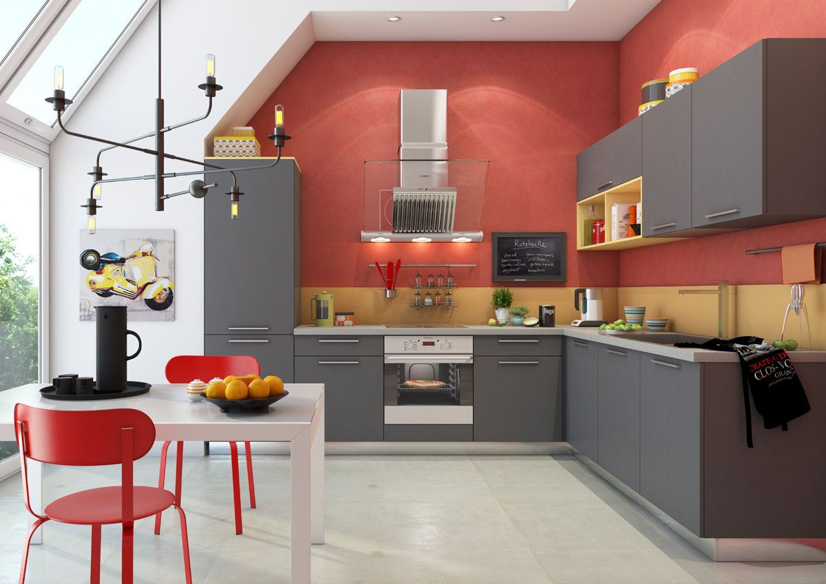 Best Matte Grey Kitchen Cabinets With Color Contrast Kitchen 640 x 480