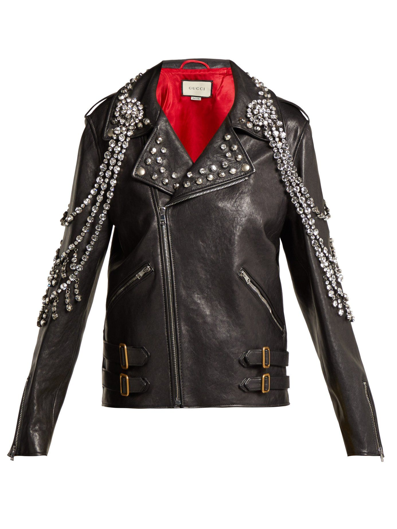 fashionable patterns top-rated latest get new Yankees crystal-embellished leather biker jacket   Gucci ...