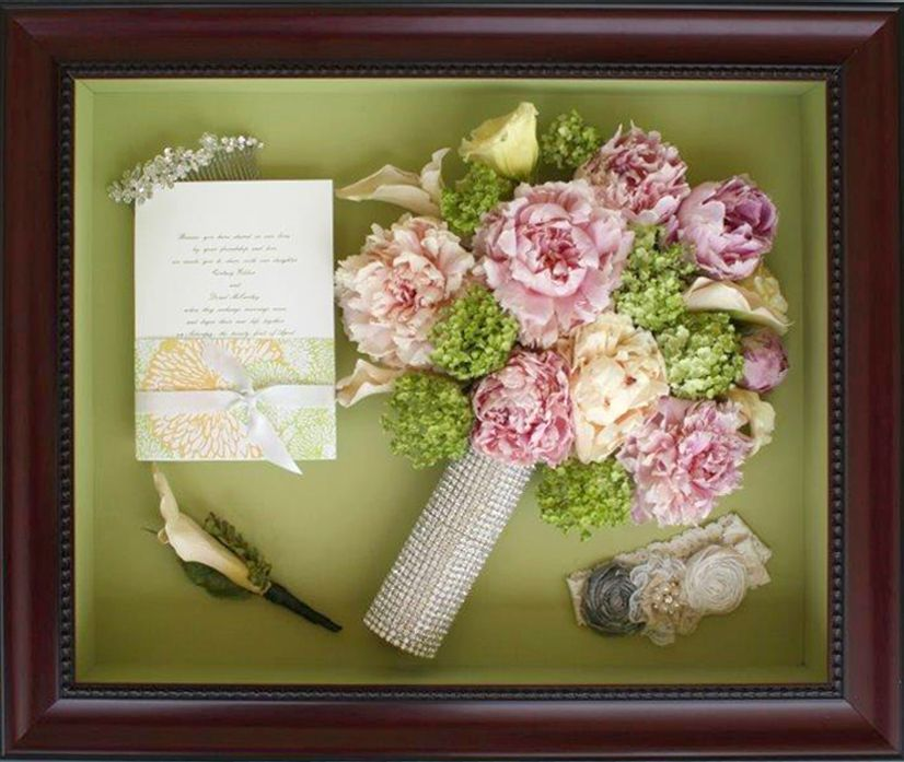 This beautiful frame is a 16×20 using the frame Rosewood Shadowbox ...